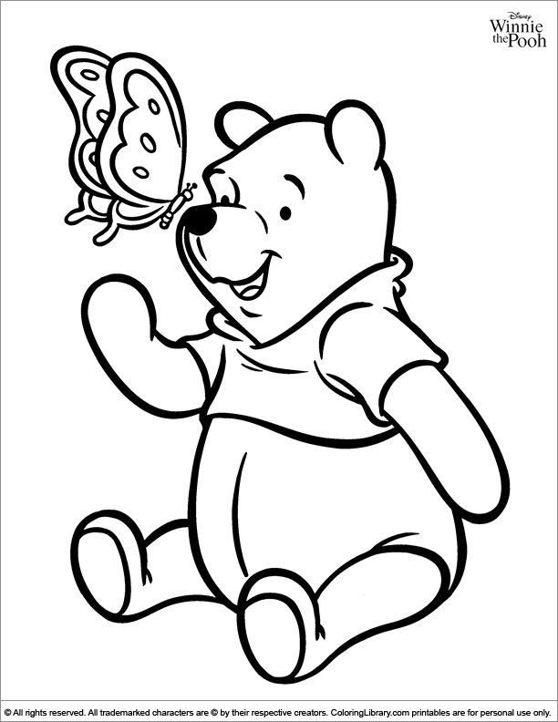 Winnie the Pooh colouring sheet for kids