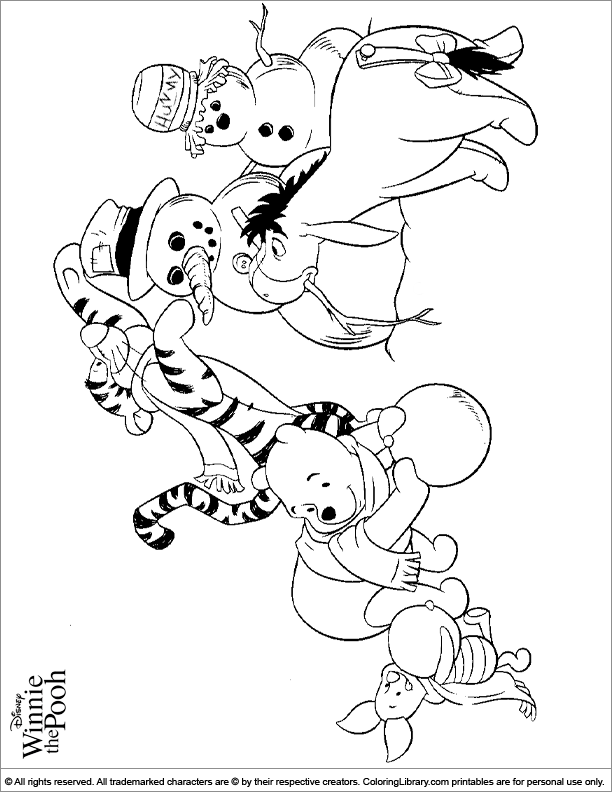 Winnie the Pooh coloring book page for kids