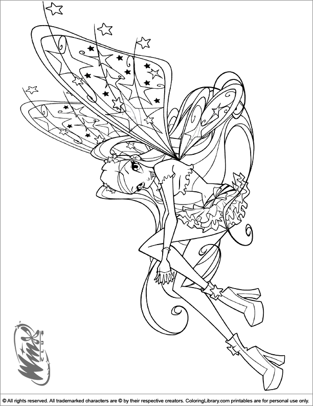 Winx Club free coloring book page