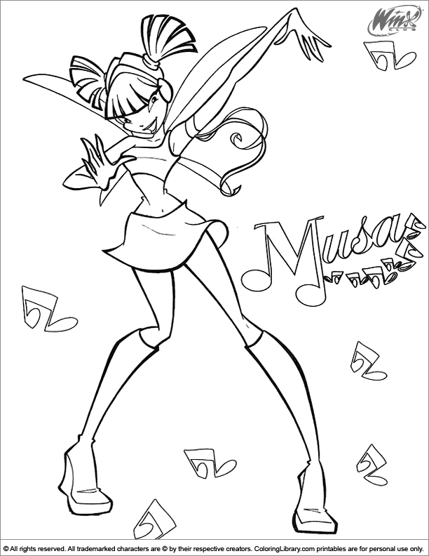 Winx Club coloring page to color for free