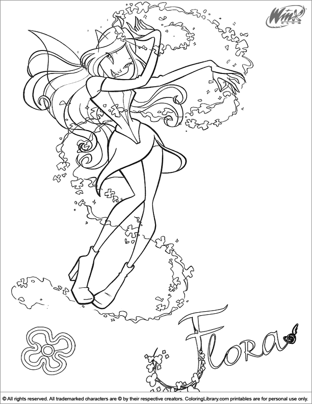 Winx Club free coloring sheet
