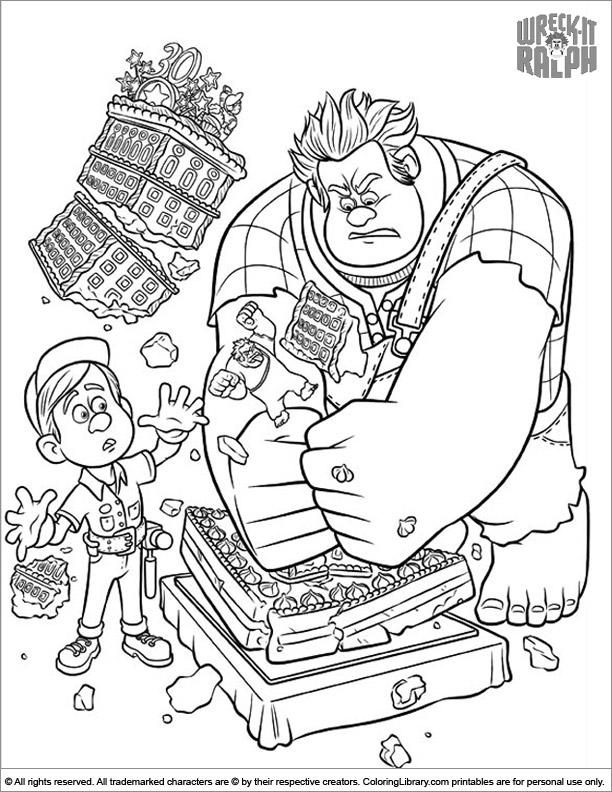 Wreck It Ralph color page for kids