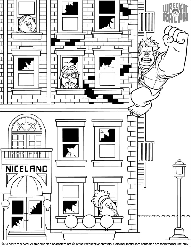 Wreck It Ralph fun coloring picture