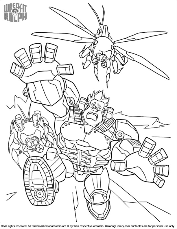 Wreck It Ralph coloring book page for kids