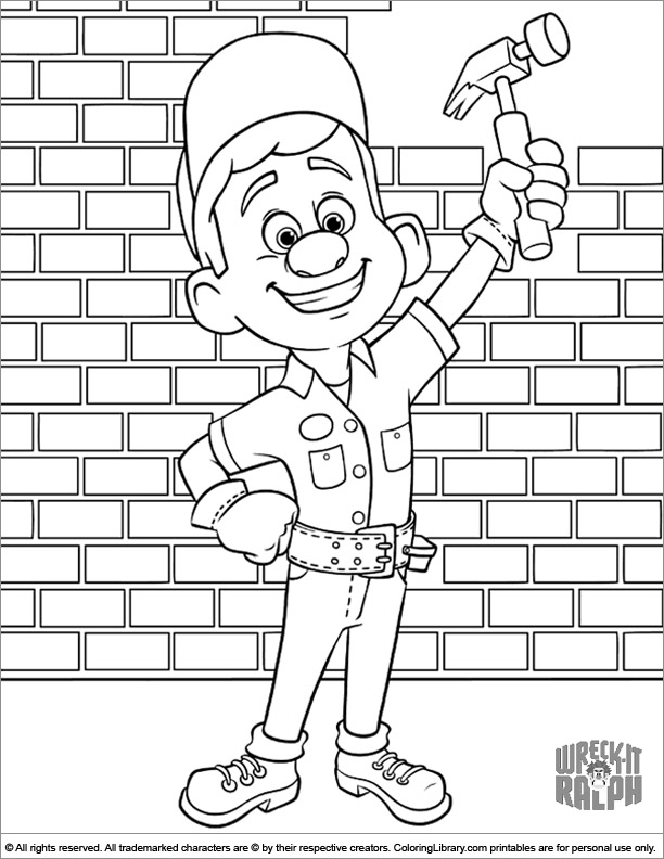 Wreck It Ralph coloring sheet for kids
