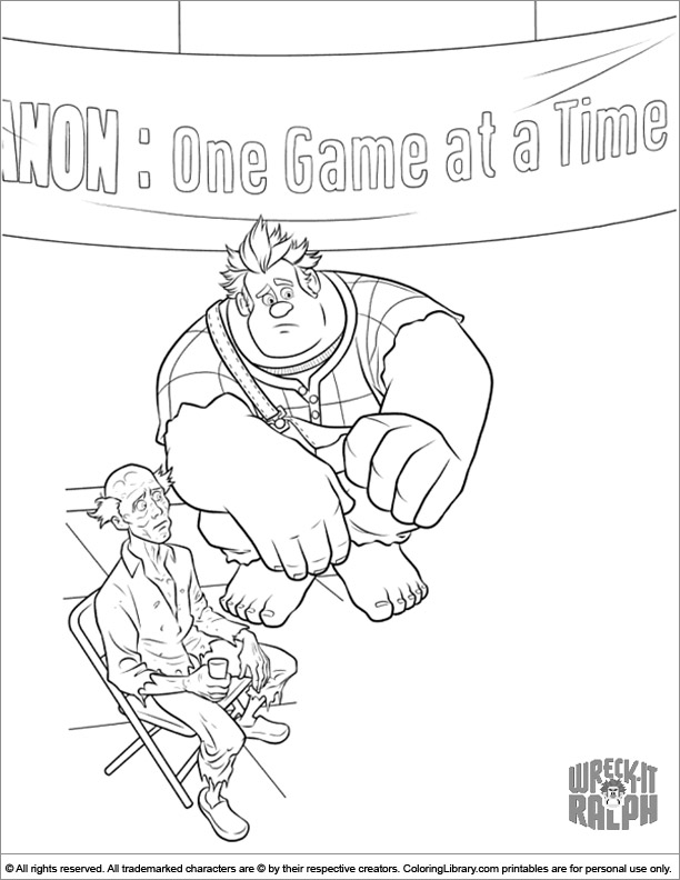 Wreck It Ralph coloring picture for kids
