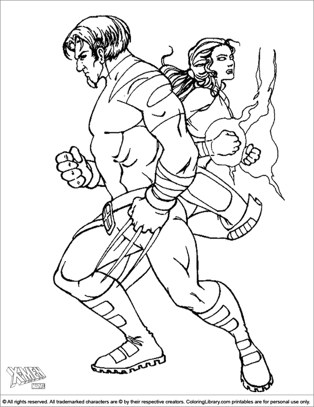 X men colouring page