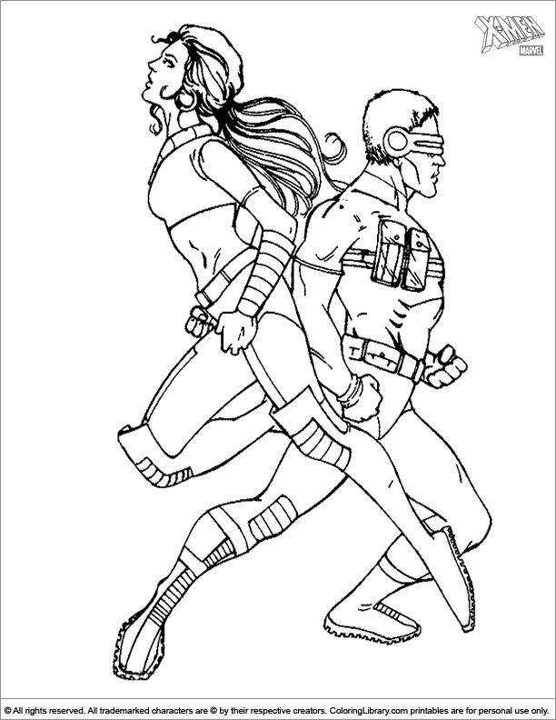X men printable coloring page