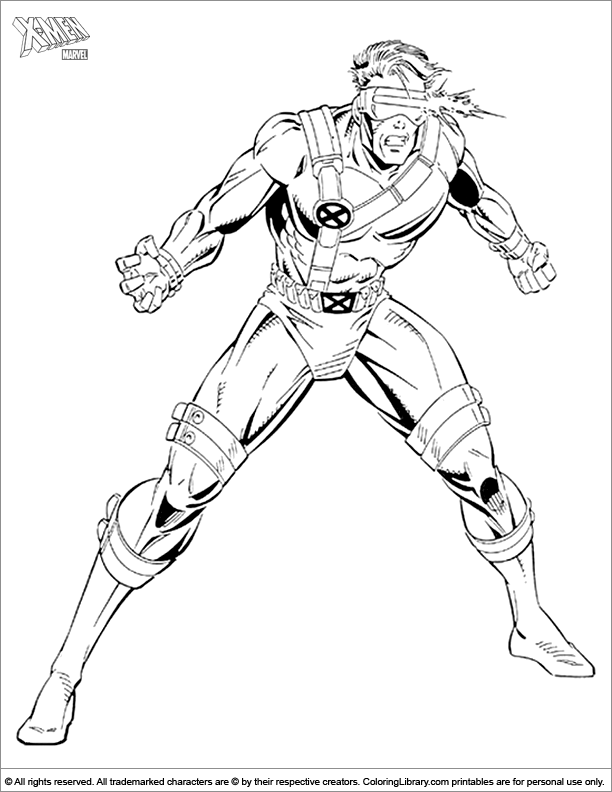 X men free coloring sheet