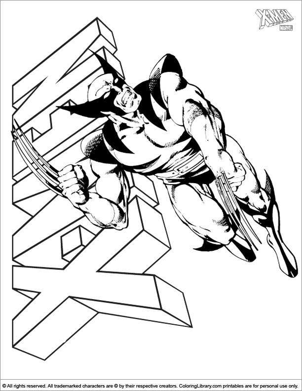X men coloring book page