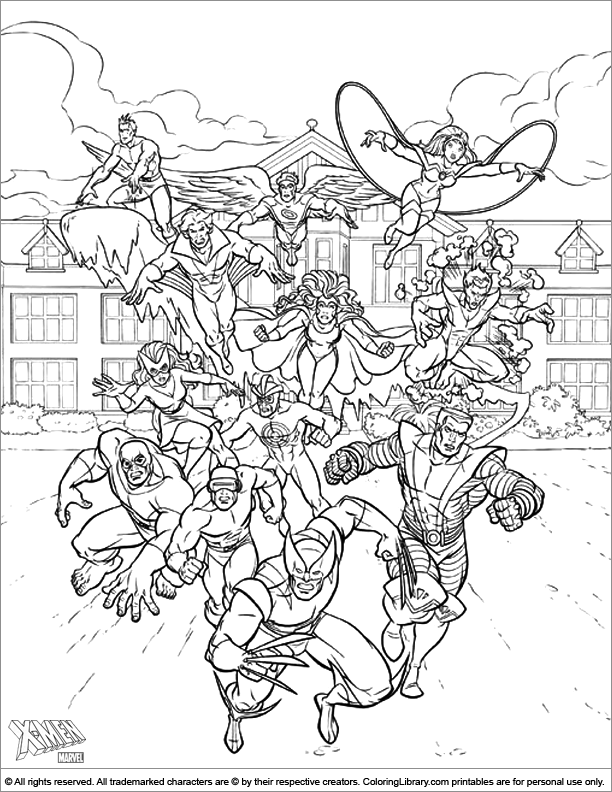 X men coloring sheet to print